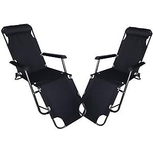 garden mile® Twin Pack Black Zero Gravity Garden Sun Lounger Sun Bed Recliner Reclining Folding Reflexology Garden Furniture Chair x2