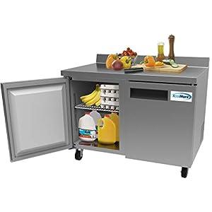 KoolMore 48″ Stainless Steel 2 Door Worktop Commercial Refrigerator with 3 1/2 Backsplash...