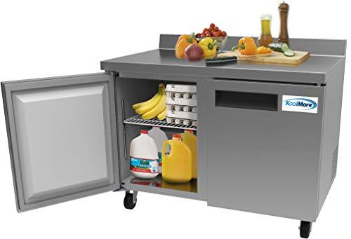 "KoolMore 48"" Stainless Steel 2 Door Worktop Commercial Refrigerator with 3 1/2 Backsplash - 12 cu.ft"