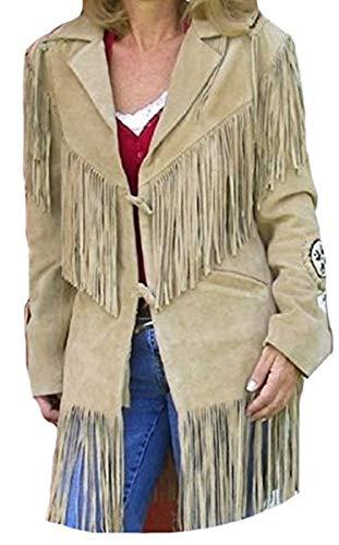 LEATHERAY Women Western Style Fringed & Bones Leather Jacket Beige 4XL