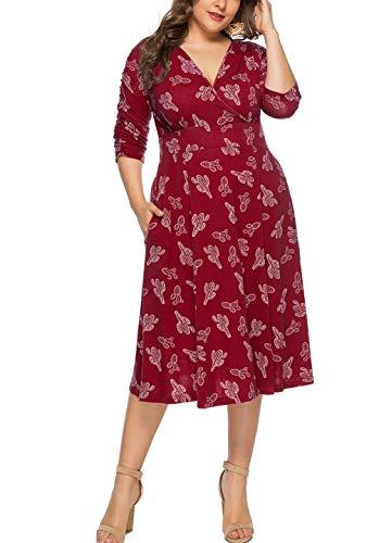 Eternatastic Womens Floral Wrap Dress Plus Size V Neck Party Dresses XXL Red