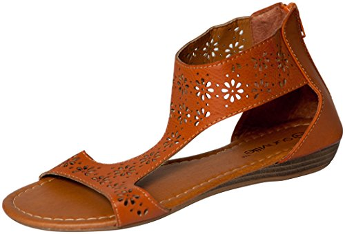 Womens Roman Gladiator Perforated Sandals Flats 3 Colors (7, Brown 81001) (Shoes Roman Sandals)