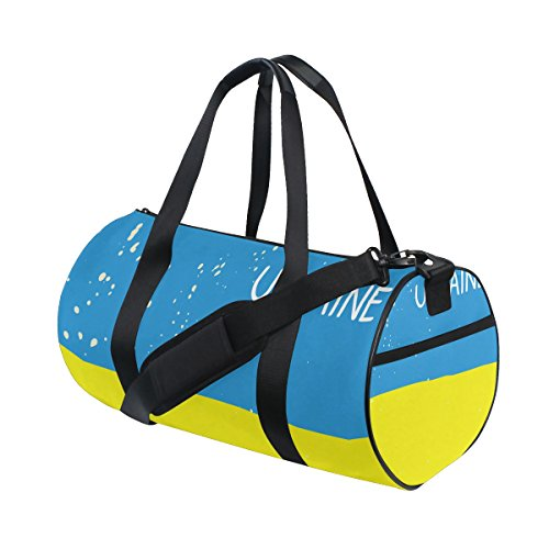 Distressed Ukraine Flag Travel Duffel Shoulder Bag ,Sports Gym Fitness Bags by super3Dprinted