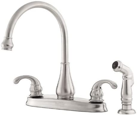 Pfister GT36-4DSS Treviso 2-Handle Kitchen Faucet with Side Spray in Stainless Steel 1.75 GPM