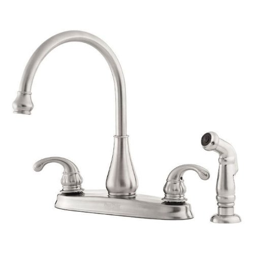 Pfister GT36-4DSS Treviso 2-Handle Kitchen Faucet with Side Spray in Stainless Steel, 1.75 GPM
