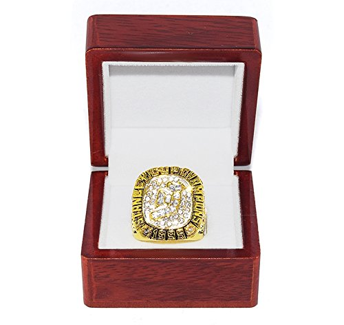 NEW JERSEY DEVILS (Claude Lemieux) 1995 STANLEY CUP FINALS WORLD CHAMPIONS Vintage Collectible High-Quality Replica NHL Hockey Gold Championship Ring with Cherrywood Display Box