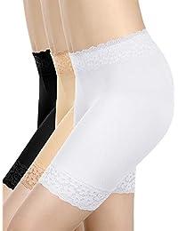 Allure Maek 3 Pieces Lace Shorts Underwear Yoga Shorts Stretch Safety Leggings Undershorts for Women Girls