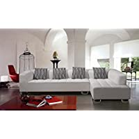 Modern Sectional Sofa Set with 4 Pillows in White