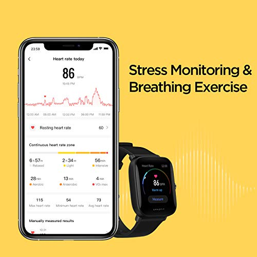 "Amazfit Bip U Pro Smart Watch with Built-in GPS, 9-Day Battery Life, Fitness Tracker, Blood Oxygen, Heart Rate, Sleep, Stress Monitor, 60+ Sports Modes, 1.43"" Large HD Display, Water Resistant (Black)"