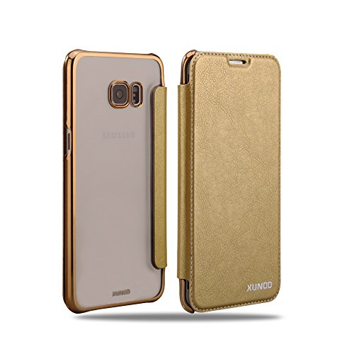 FotoFo Galaxy S6 Edge Plus case, Flip PU Hard Clear transparent Back Cover Vertical Leather Cases for Samsung Galaxy S6 Edge Plus (Gold)