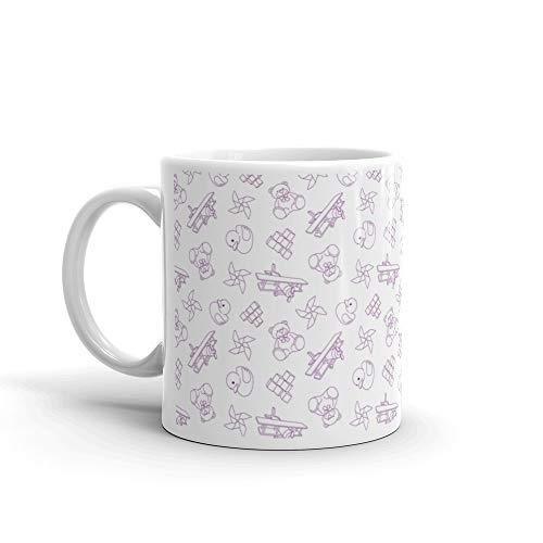 Wallpaper With Children Cartoon Doodle Toys Bear Seamless Favorite Drink Mug Ceramic 11oz ()