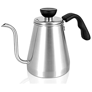 POUR OVER Coffee Kettle and Tea Kettle 1L - Ovalware RJ3 Stainless Steel Drip Kettle with Precision Gooseneck Spout for Home Brewing, Camping and Traveling