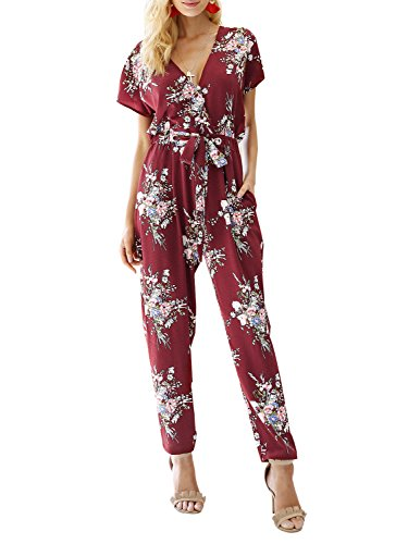 Missy Chilli Women's Floral Print Short Sleeve V Neck Wrap Jumpsuit with Tie Waist Wine Red US 8/10