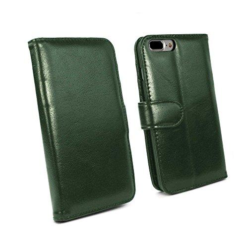 Tuff-Luv Vintage Ledertasche für Apple iPhone 7 Plus (inkl. Displayschutz) - Geldbörse Stil - Grün