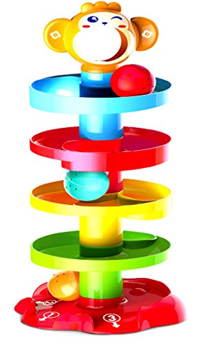Activity Roll n Swirl Ball Ramp Educational Puzzle Bell Stacker Baby Toddlers Infant Kids Toys by TEDOTOYS