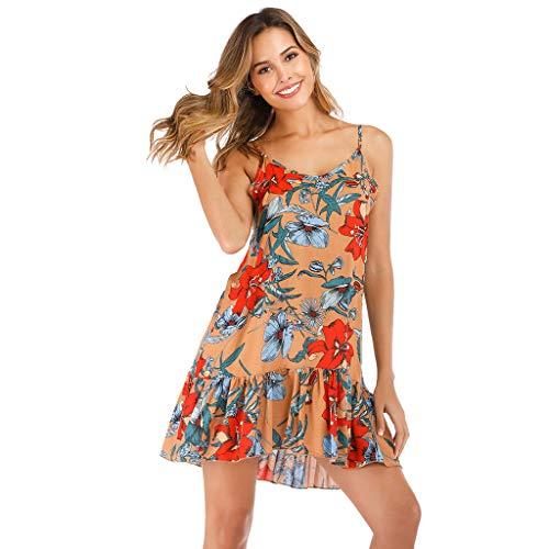 (Womens Tops,Women's Sexy Print Hanging Bandwidth Truffle Back Dress(S, Khaki))