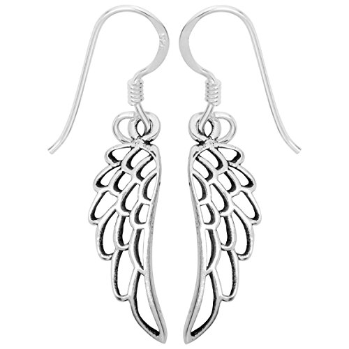 YACQ 925 Sterling Silver Guardian Angel Wings Dangle Earrings Costume Jewelry For Women Teen Girls Biker