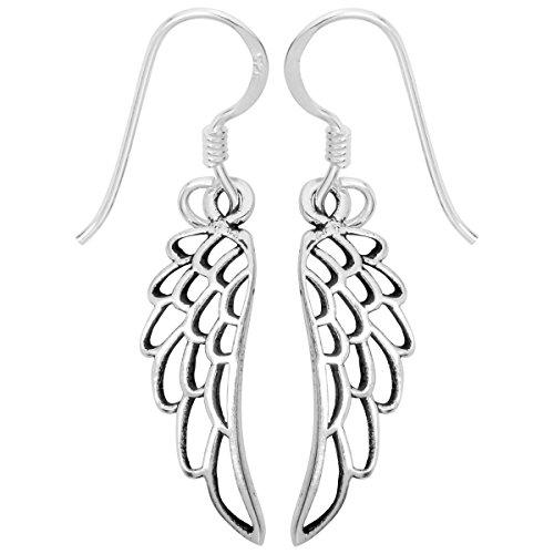 YACQ 925 Sterling Silver Guardian Angel Wings Dangle Earrings Costume Jewelry For Women Teen Girls Biker ()