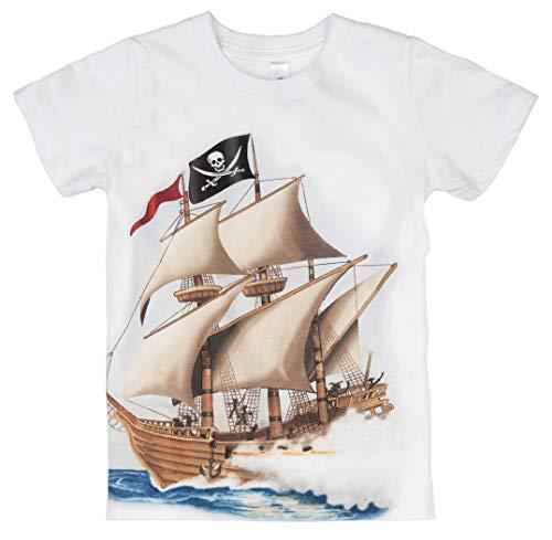 (Shirts That Go Little Boys' Pirate T-Shirt 6 White)
