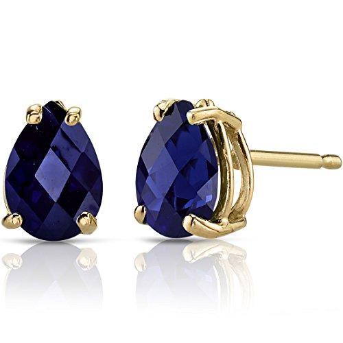 14K Yellow Gold Pear Shape 2.00 Carats Created Blue Sapphire Stud Earrings