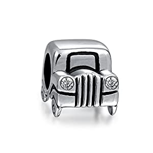 Bling Jewelry Sterling Silver Jeep Car Bead CZ Headlights Charms