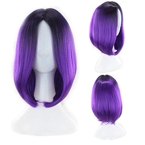 Similar Highlight Women Short Synthetic Wigs Ombre Hair For Cosplay Halloween Two Tones Black T Blue Green Purple Gray Yellow,Paars,14Inches -
