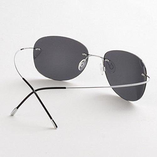 5361faa35d Mnxo Rimless Lens Titanium Polarized Sunglasses for Men and Women –  Lightweight (Black)