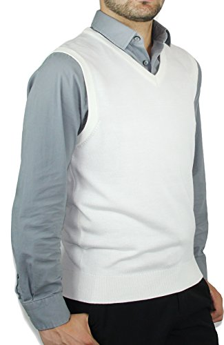 Blue Ocean Solid Color Sweater Vest-X-Large Off-white