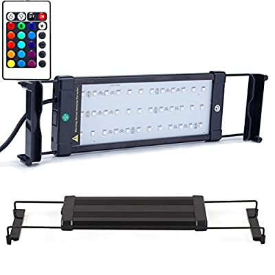 EKOSTORE Aquarium Hood Lighting Color Changing Remote Controlled Dimmable LED Light for Aquarium/ Fish Tank, 6W 36 LED's Extendable upto 19.5 inches (For Fresh and Salt Water)