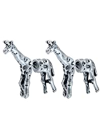 Antique Silver Lovely 3d Fake Gauge Giraffe Animal Earrings Jewelry for Women and Girls