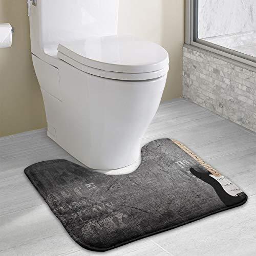 FTRGRAFE Cool Guitar Black Wall Contour Bath Rug, U-Shaped Polyester Toilet Floor Mat Non Slip Bathroom Shower Carpet