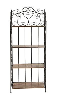 Deco 79 69872 Metal Wood Baker Rack, 27 by 68-Inch