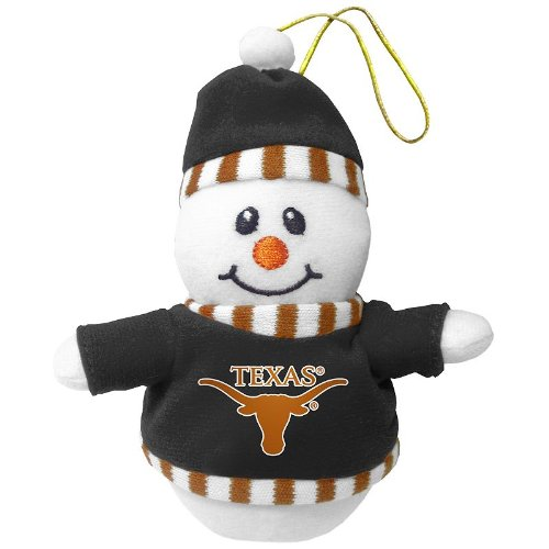 Texas Longhorns Plush Snowman Christmas Ornament