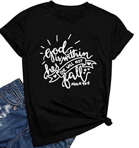 ROSEPARK Women God Graphic Cute T shirt Junior Tees Black Small ()