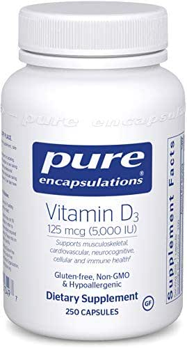 Pure Encapsulations - Vitamin D3 125 mcg (5,000 IU) - Hypoallergenic Support for Bone, Breast, Prostate, Cardiovascular, Colon and Immune Health* - 250 Capsules