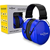 TOENNESEN 36dB Highest NRR Safety Ear Muffs, Adjustable Headband Ear Protection Fits Kids and Adults - Professional Ear Defenders for Shooting/Hunting/Working/Lawn Mowing/Loud Events (Blue)