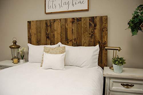 Dark Walnut Headboard King Size Stain, Hanger Style, Handcrafted. Mounts on Wall. Easy Installation.