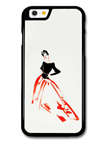 Retro Vintage Fashion Illustration of Minimalist Woman with Red and Black case for iPhone 6 6S