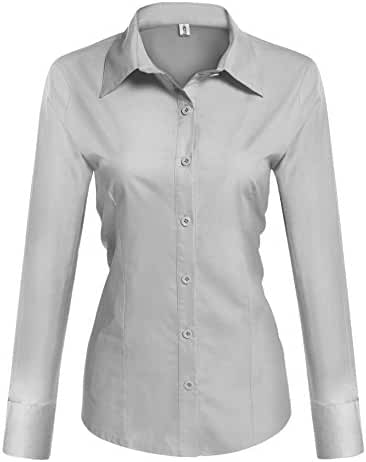 HOTOUCH Womens Basic Long Sleeve Cotton Simple Button Down Shirt