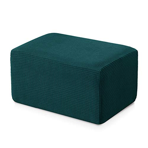 Subrtex Stretch Storage Ottoman Slipcover Spandex Elastic Rectangle Footstool Sofa Cover for Living Room (Oversize,Turquoise)