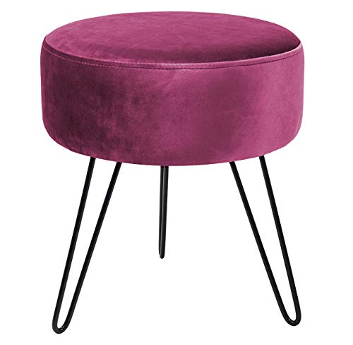 Sorbus Velvet Footrest Stool, Round Mid-Century Modern Luxe Velvet Ottoman, Footstool Side Table, Removable Metal Leg Design (Red Magenta)