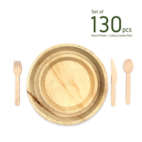 minliving Palm Leaf Round Plates with Cutlery Set of 130 pieces Contains 25 pieces 10 inch and 5 pieces 6 inch Palm Leaf Plates with Premium Wooden Birch Cutlery 50 Forks 25 Spoons and 25 Knife