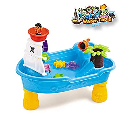 Sand Play TableToy | 20Pcs Sand Water Activity Table with Sandbox Tool,2 in 1 Summer Beach Game Toy Play Sand Tools for Child Age 2-6 (from US, Multicolour): Kitchen & Dining
