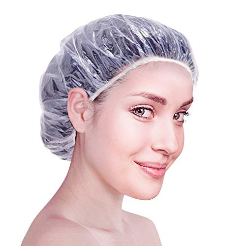 Zilong 100 PCS Disposable Shower Cap Thickened, Large Elastic Clear Hair Cover For Hair Conditioning, Spa, Bath, Home Use, Hotel and Hair Salon, Pack of 100 Individually Wrapped