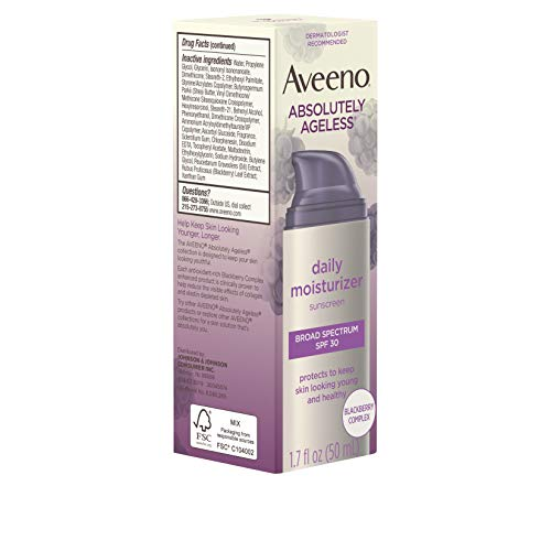 41ku8qCAJDL - Aveeno Absolutely Ageless Daily Facial Moisturizer with Broad Spectrum SPF 30 Sunscreen, Antioxidant-Rich Blackberry Complex, Vitamins C & E, Hypoallergenic, Non-Comedogenic & Oil-Free, 1.7 fl. oz
