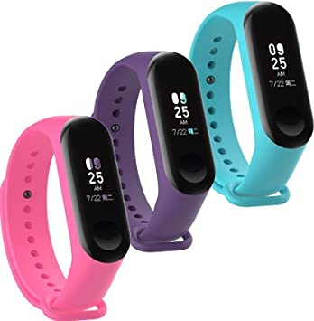 WindTeco Pack de 3 Correa Xiaomi Mi Band 3 / Xiaomi Mi Band 4, Silicona Repuesto Pulsera Recambio Reloj Banda Extensibles Correa Reemplazo, Magenta, Púrpura, Azul (Sin Rastreador de Actividad): Amazon.es: Deportes