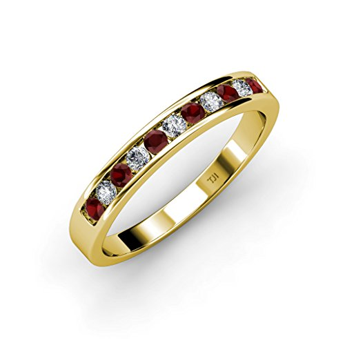 TriJewels Red Garnet and Diamond 11 Stone Channel Set Wedding Band 0.36 ct tw in 14K Yellow Gold.size 5.5