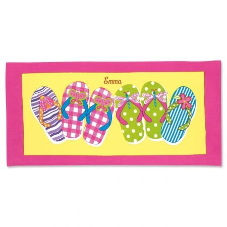 Lillian Vernon Personalized Kids Pink Flip-Flop Cotton Beach Towel for Girls, 100% cotton, Custom embroidered -30'' x 60'' bath towel