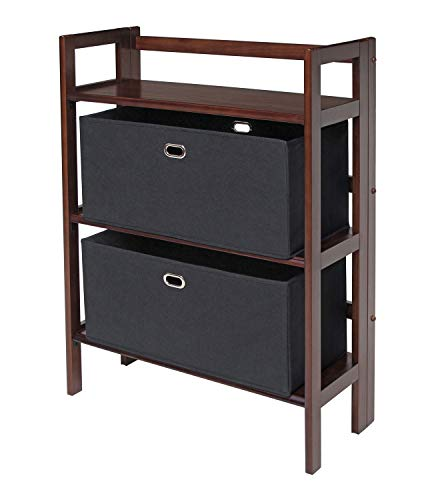 Winsome Wood 94395 Torino 3-PC Set Folding Bookcase w/Fabric Basket Storage and Organization, Antique Walnut/Black by Winsome Wood