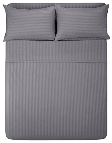 The Great American Store - 25 inch Extra Deep Pocket Bed Sheet Set - 4 Piece Cal King Size Stripe Grey - 1800 Series Brushed Microfiber - Wrinkle, Fade, Stain ()